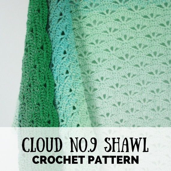 Crochet Pattern Triangle Shawl Scheepjes Whirl The Cloud No9 Etsy