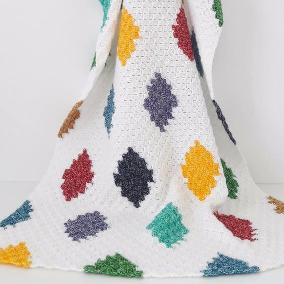Gehäkelte Decke Häkeln Afghanischen C2c Harlekin Decke Decke Etsy