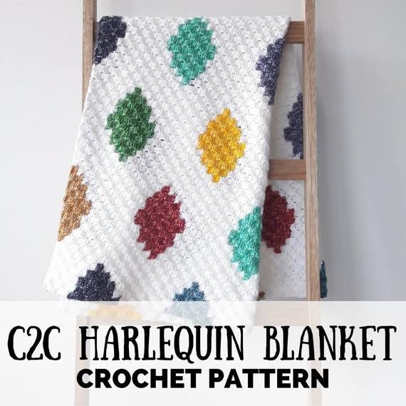 C2C crochet blanket patttern graphghan pattern C2C harlequin | Etsy