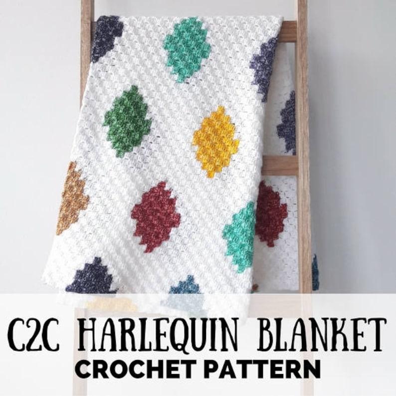 C2C crochet blanket patttern graphghan pattern C2C harlequin image 0