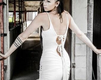 LAST ONE!- Sale-Anuket dress - Mini dress-Little white dress- Backless bamboo dress- Backless mini dress