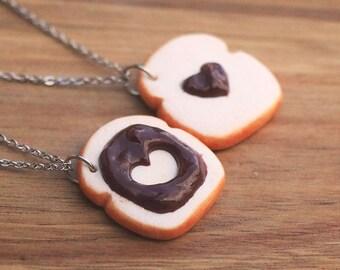 Chocolate Toast Friendship Necklaces, Food Jewelry, Miniature Food, Birthday Gift, Friendship Necklace, Friend necklace, bff Necklace