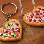 Best Friend Pizza Keychains - BFF Jewelry, Polymer Clay, Best Friend Keychain Set, Miniature Food Jewelry, Christmas Gift
