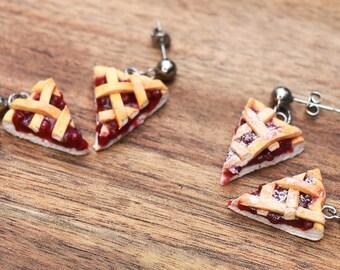 Cherry Pie earrings - miniature food jewelry - kawaii pie - kawaii jewelry - hypoallergenic, food jewelry