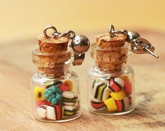 Licorice earrings, bottle earrings, food jewelry, licorice jewelry, candy jewelry, candy earrings, licorice bottle earrings