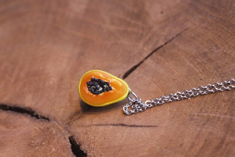 Papaya Necklace  Fruit Jewelry  Fruit necklace  Miniature image 0