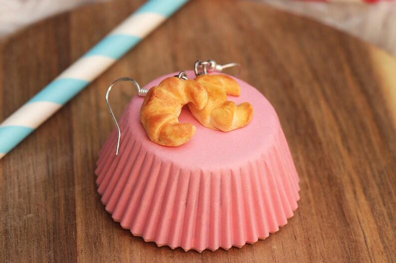 Croissant Earrings  Food Jewelry Kawaii Kawaii Jewelry image 0