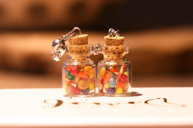 Vintage Candy Bottle Earrings  Food Jewelry Food Earrings image 0