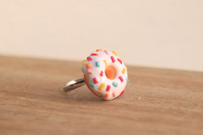 White Donut Ring With Sprinkles  Food Jewelry Food Ring image 0