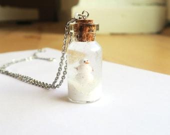 Snowman Snowglobe necklace - snowman necklace, snow necklace, winter necklace, christmas necklace, christmas jewelry