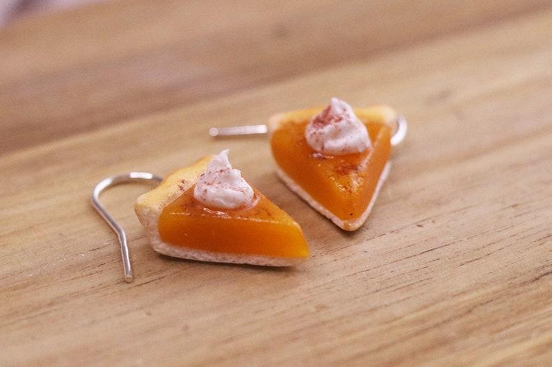Pumpkin Pie Earrings  Halloween Earrings Food Jewelry image 0