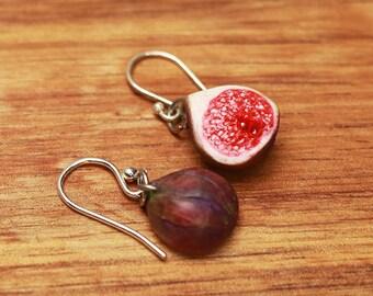 Fig earrings - fruit jewelry, fruit earrings, fig earrings, food jewelry, food earrings, miniature food, fig jewelry