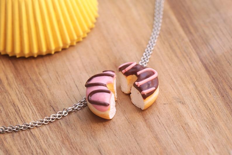 Donut Friendship Necklace  Donut Friend Jewelry  Donut image 0