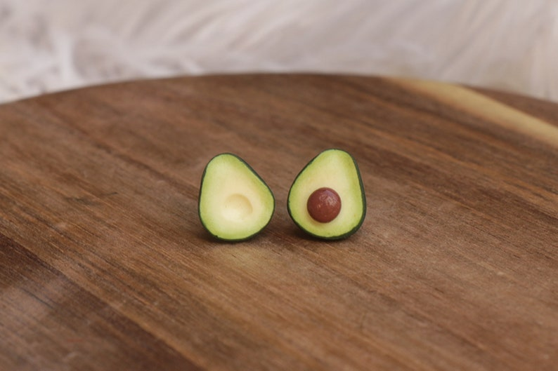 Avocado Earrings   Fruit jewelry  Miniature food jewelry image 0