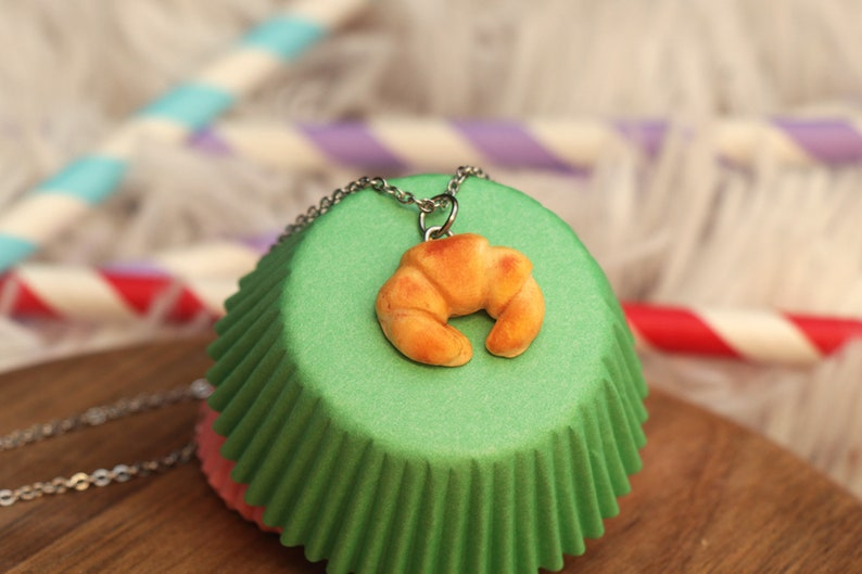 Croissant Necklace  Food jewelry Food Necklace  Breakfast image 0