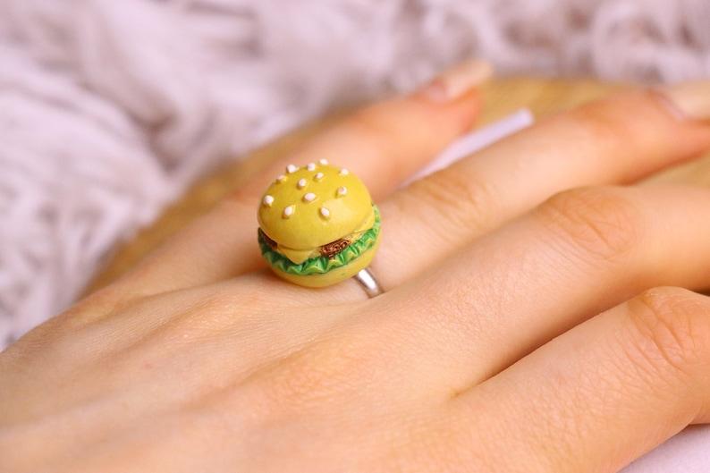 Burger Ring  Food Ring Food Jewelry Burger Jewelry Kawaii image 0