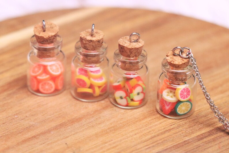 Jarred Fruit Necklace  Fruit Bottle Necklace Food Jewelry image 0