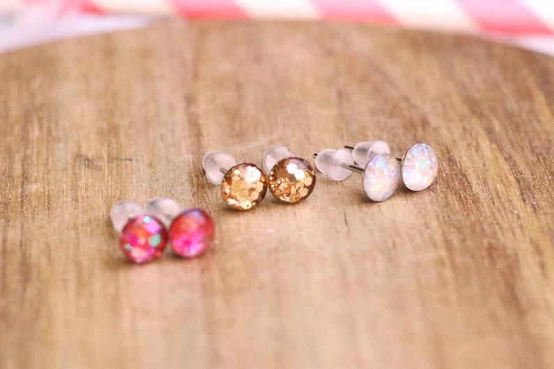 Glitter Studs  Glitter Earrings Summer Earrings Cute image 0