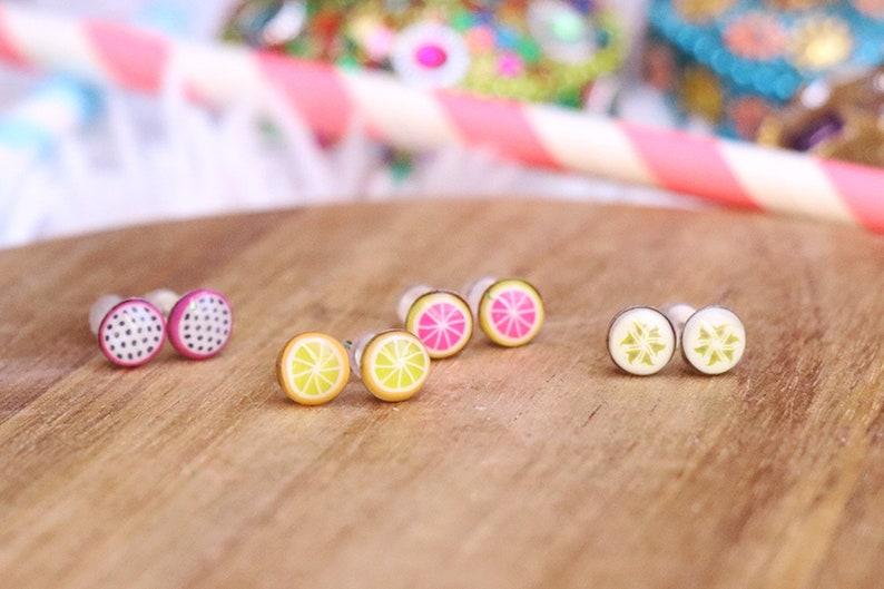 Fruit Studs  Fruit jewelry Fruit Earrings Kawaii Kawaii image 0