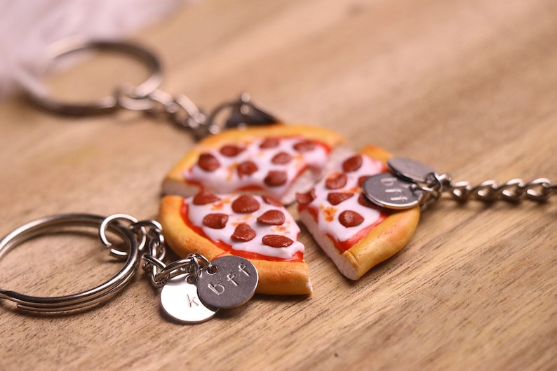 Pizza Friendship Keychains 2345 or 6 friends Personalized image 0