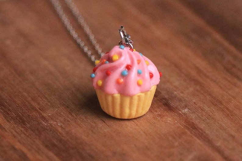 Pink Cupcake Necklace  Food Jewelry Kawaii Necklace Food image 0