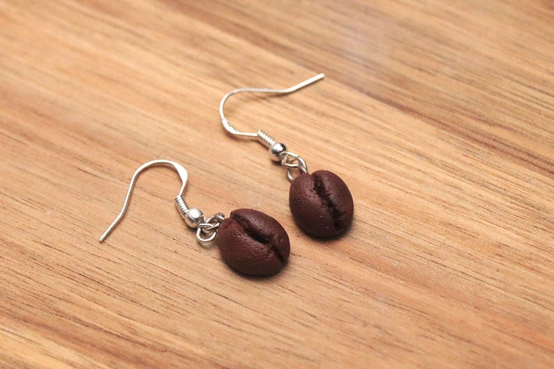 Coffee Bean Earrings  Stainless Steel Food Jewelry Kawaii image 0