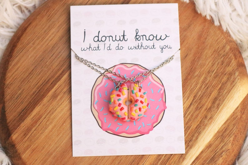 Donut friend Necklaces  Best Friend Gift Friendship Gift image 0