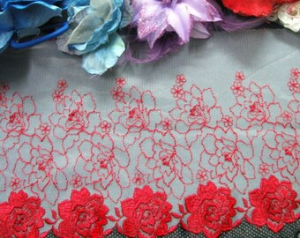 """DN331- 8""""White Red Rose Embroidered Tulle Mesh Lace Trim by Yard"""