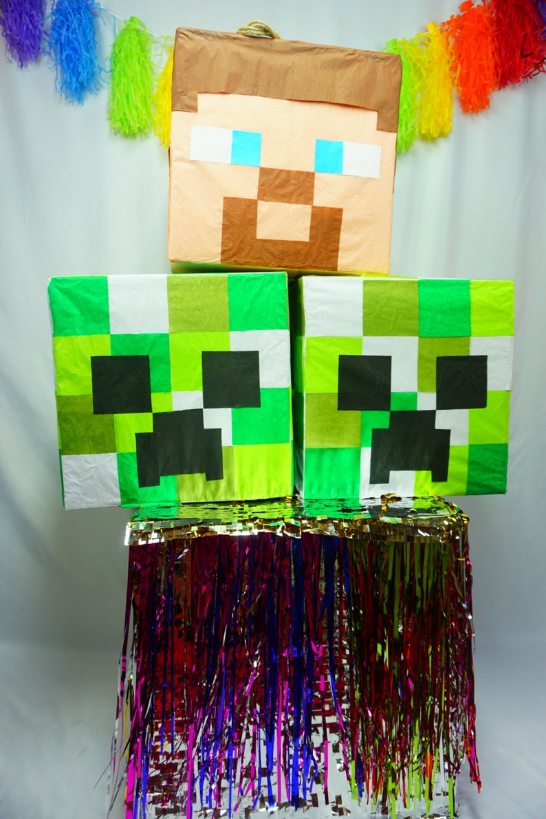 Creeper Head Pinata Inspired By The Awesome Minecraft Game Etsy