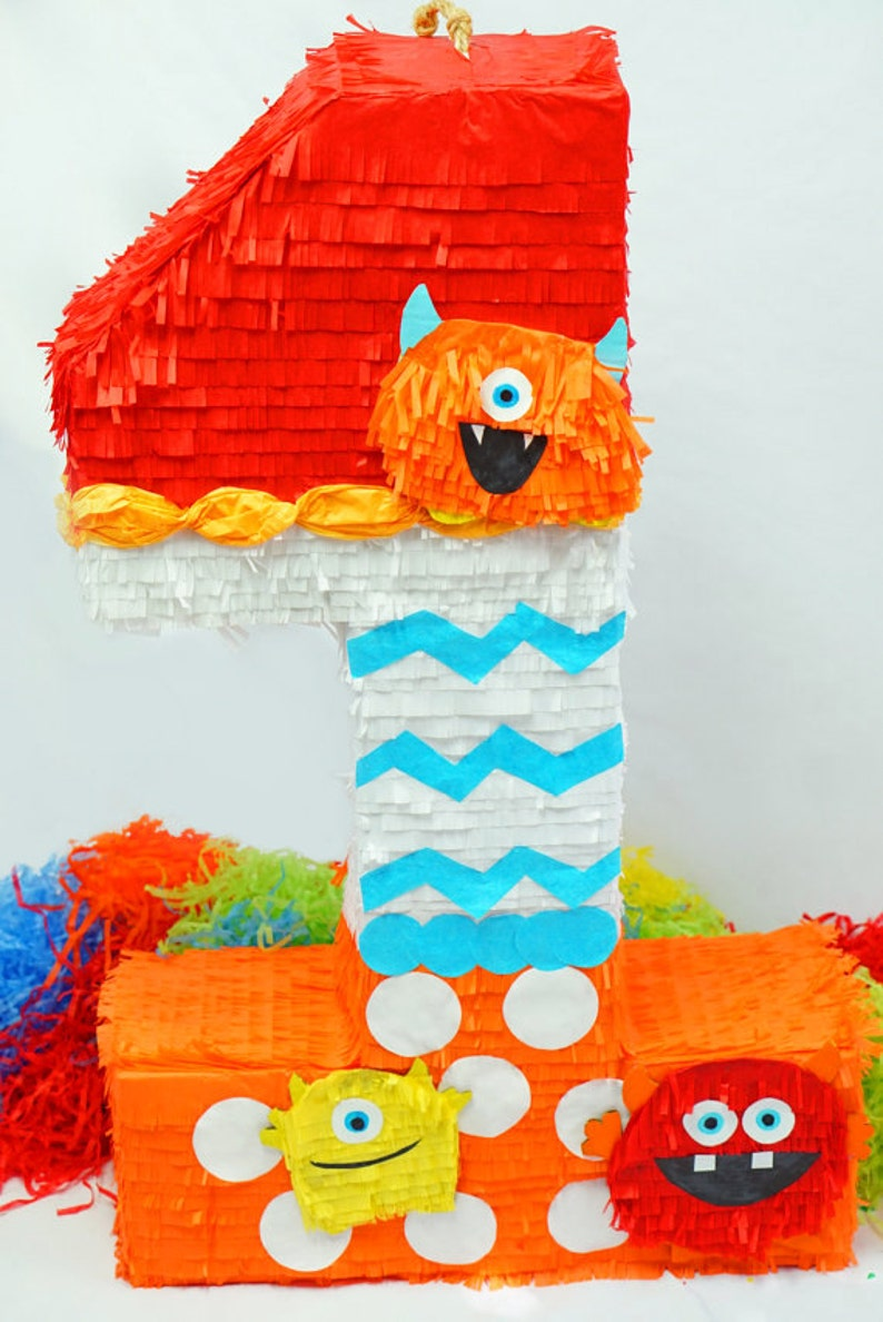 2D Number 1 Pinata Furry Monsters Theme | Monster Party Goods | Pinatas For  1 Year Olds | Children's B-Day Party Game | Colorful Kid's Party