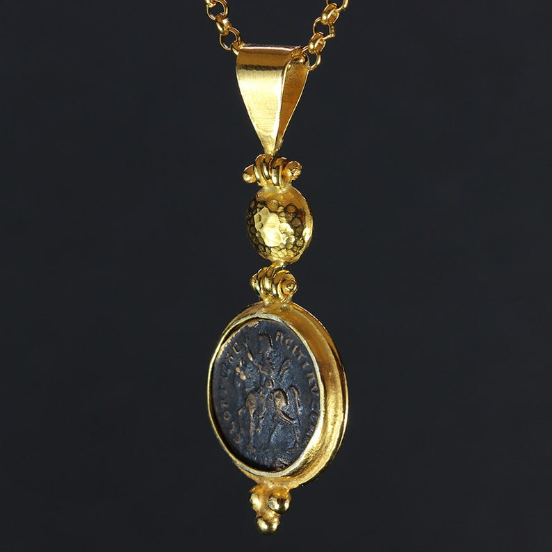 Byzantium Ancient Roman Handcrafted Granulated 24K Yellow Gold over 925 Solid Sterling Silver Necklace Greek Art Designer Coin Pendant