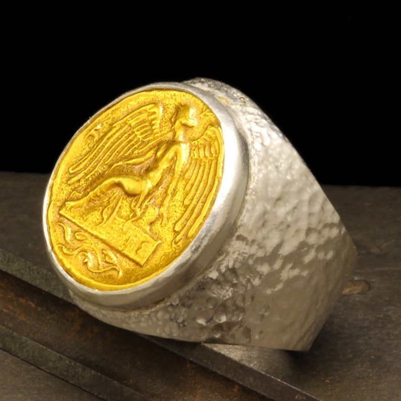 Mens Signet Pegasus Coin Ring Heavy Weight Solid 925 Sterling Silver 24K Gold Vermeil Handcrafted Hammered Two Tone Ancient Roman Byzantium Greek Art Artisan Large Seal Ring