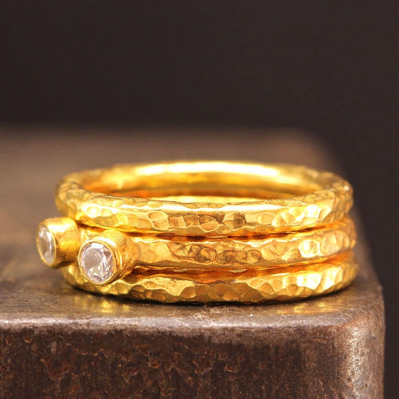 Set of Three 925 Solid Sterling Silver over 24K Yellow Gold Cubic Zirconia Stackable Rings Stacking Set Ancient Roman Art Hammered Stack