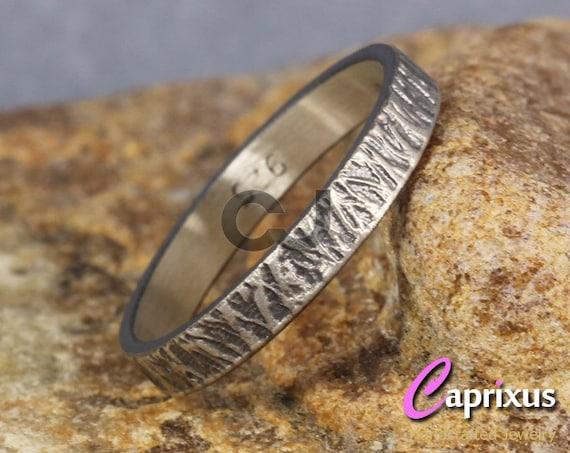 FREE Engraving 9mm Wedding Band Oxidized Blackened 925 Sterling Silver Mens Women Unisex Flat Pipe Cut Thick Handmade Black Ring