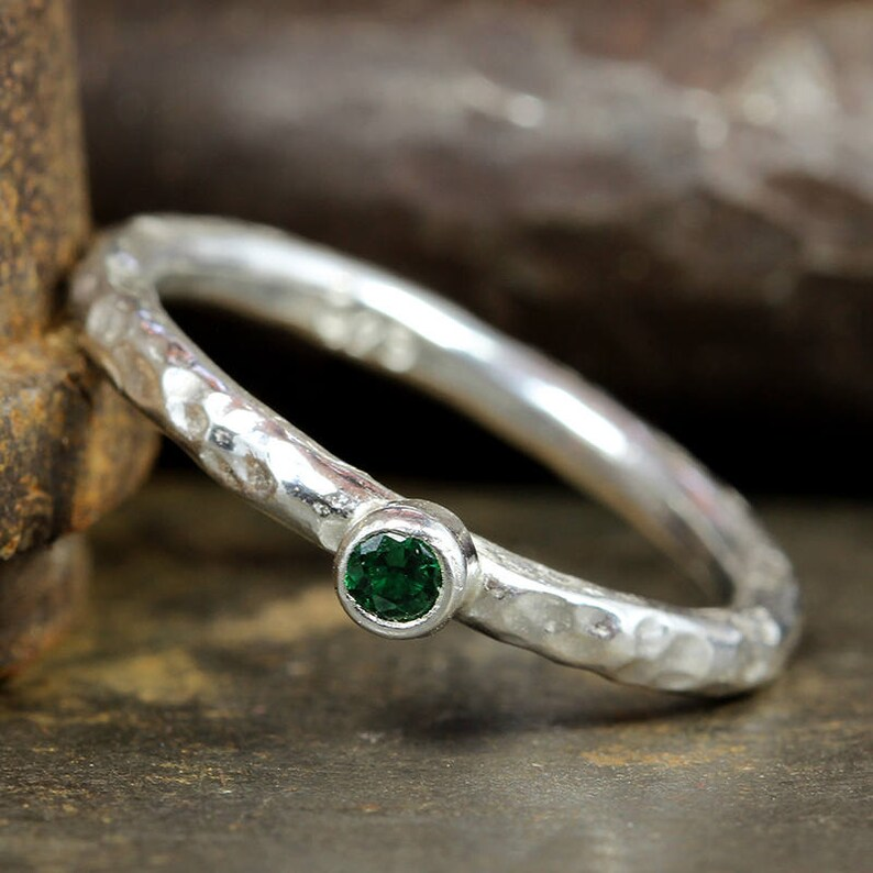 Handcrafted Hammered Artisan 925 Sterling Silver Green Cubic Zirconia Solitaire Stack Stackable Designer Stacking Minimalist Birthstone Ring