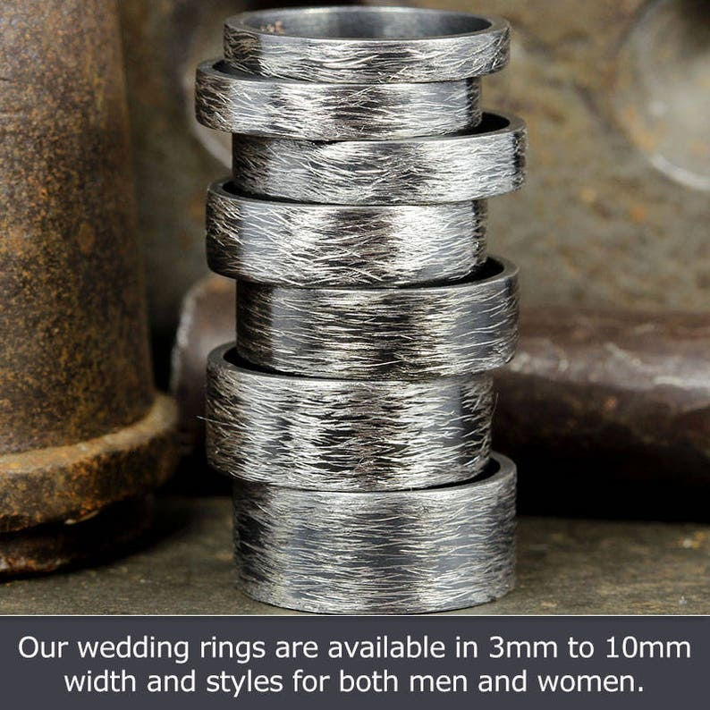 Wedding Ring Set Oxidized FREE Engraving Matching His /& Hers Thick Wedding Bands Blackened 925 Solid Sterling Silver Wire Brushed Rings