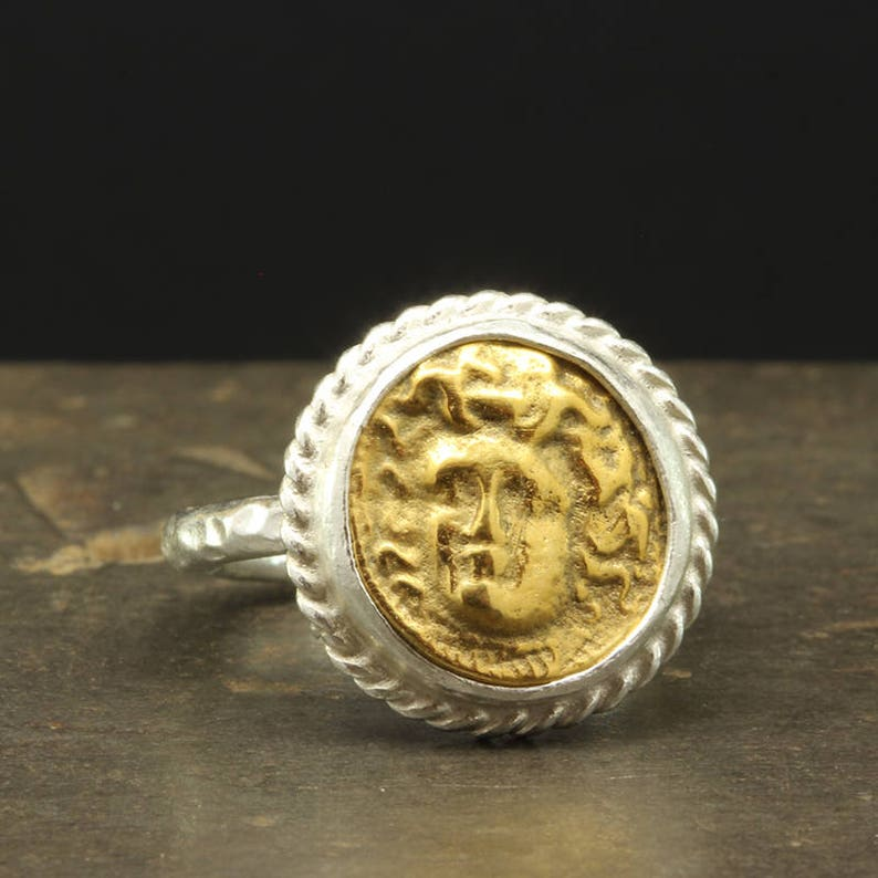 490ee380fe Ancient Greek Art Medusa Signet Coin Ring, 925 Sterling Silver, Handcrafted  Hammered 24K Yellow Gold Vermeil Hand Forged Roman Art Coin Ring