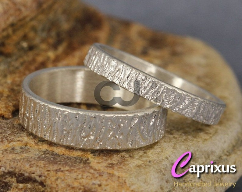 Rustic 925 Sterling Silver FREE Sizing /& Engraving Matching His and Hers Wedding Bands Tree Bark Textured Wedding Band Set Wood Bark