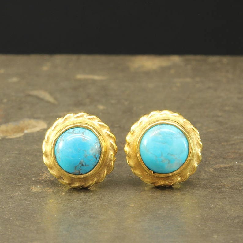 90bf54aa1 Natural Turquoise Stud Earrings 925 Solid Sterling Silver 24K | Etsy