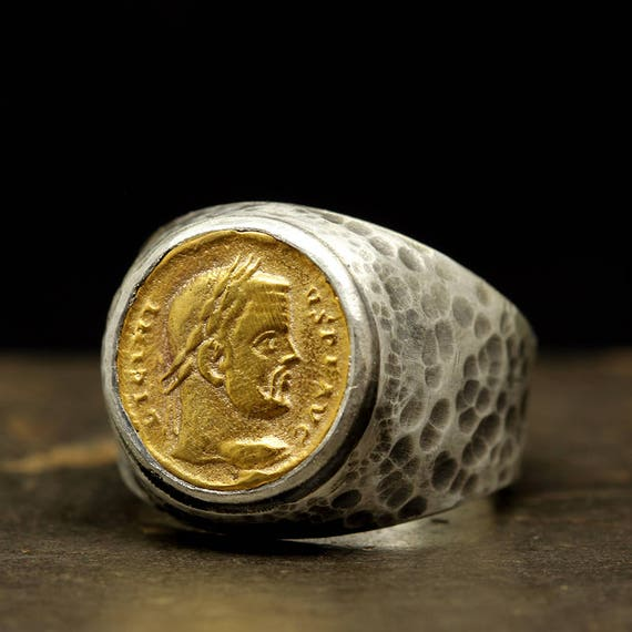 Mens Signet Ring Coin Ring Sterling Silver 24k Gold
