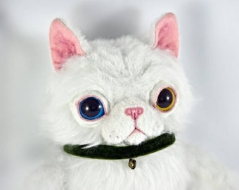White Longair Cat in a Collar, OOAK handmade art toy