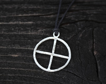 Sun cross pendant etsy sun cross sterling silver pendant hammered rustic germanic solar wheel symbol prehistoric pagan heathen odinism asatru viking jewelry aloadofball Image collections