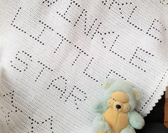 Crochet Blanket Pattern Twinkle Twinkle Little Star Filet Blanket PDF, uk & us terms No50 white newborn beginners easy gender neutral