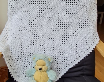 Crochet Blanket Pattern Chevrons Filet Blanket PDF, uk & us terms, No58, from baby to king size, easy neutral, multi-size
