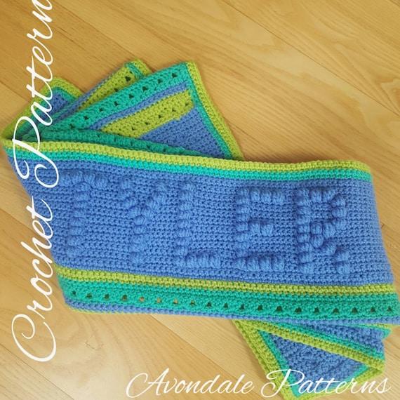 Crochet Blanket Pattern Birthday Name Blanket Hat Instant Etsy