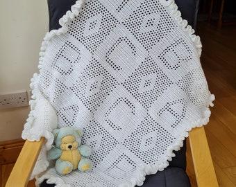 Crochet Blanket Pattern ABC Filet Blanket PDF, uk & us terms No57 white newborn beginners easy gender neutral