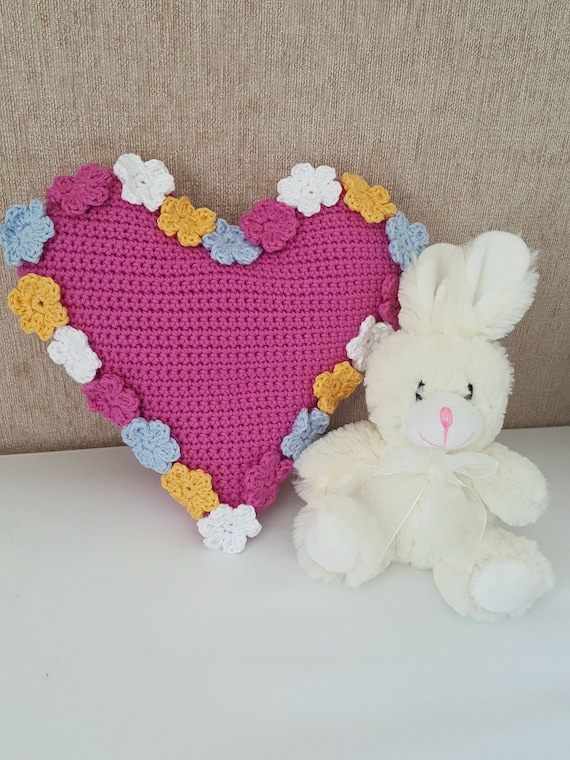 Crochet Cushion Pattern Spring Flowers Heart Cushion Pdf Uk Etsy