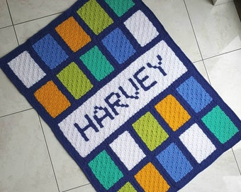 Crochet Blanket Pattern C2C Name Blanket INSTANT DOWNLOAD PDF, uk & us versions No45 personalised, any name 3-7 letters long, full alphabet