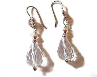 Swarovski Crystal and Sterling Silver Dangle Earrings