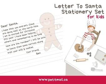 Letter To Santa - Santa Stationery - Kids Stationery - Children's Paper Set - Digital Download - Kids Letter Writing Set - Holiday Paper Set